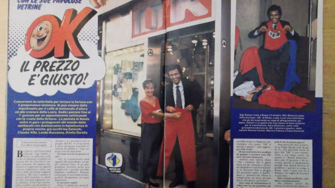 CLIPPING – 1985 – Torna Gigi Sabani con le sue favolose vetrine