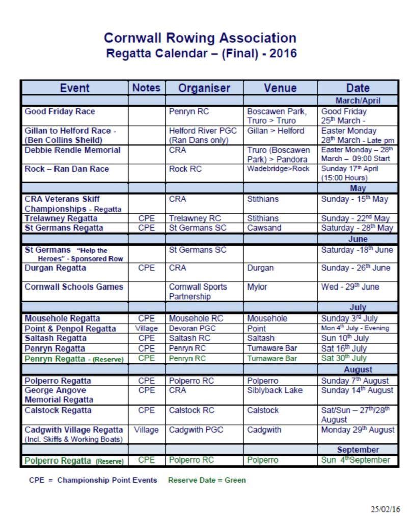 CRA calendar 2016