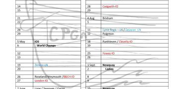CPGA Fixture list 2018