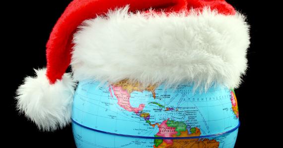 Globe Santa hat and Christmas balls.