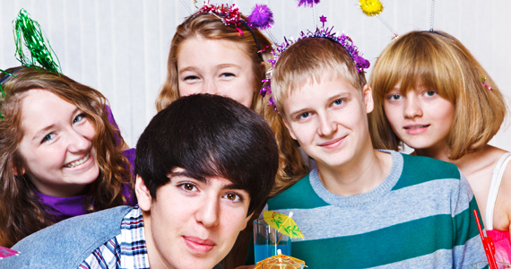 teens at a birthday party