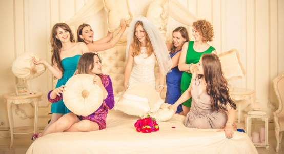 Girls celebrate a bachelorette party with bridesmaids.