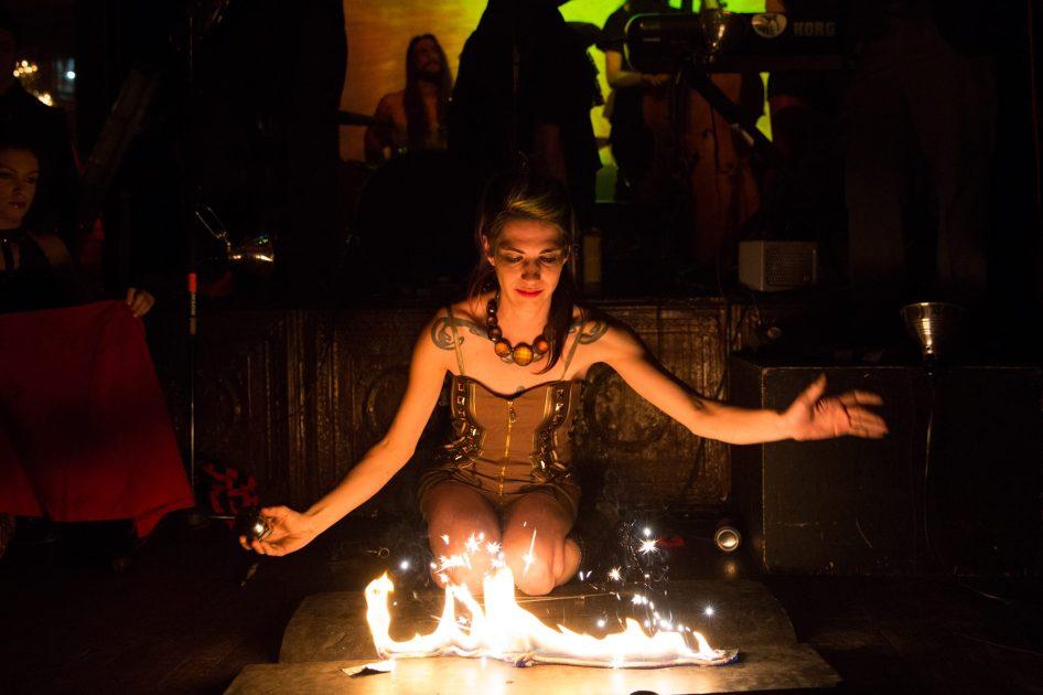 Tara Mc Manus performing with fire