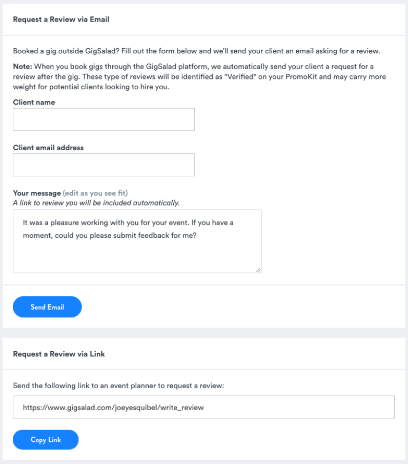 Request a review feature in PromoKit