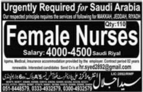 Female Nurses 100+ Jobs in Saudi Arabia