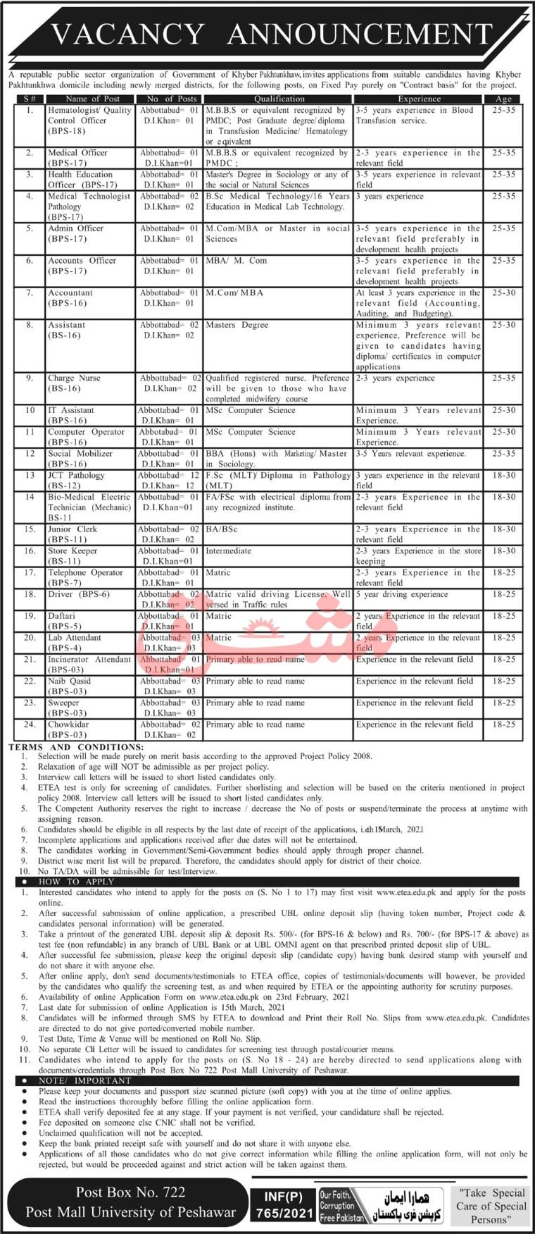 Public Sector Organisation Latest PO Box 722 GPO Peshawar Jobs