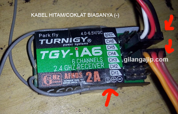 Receiver Turnigy TGY ie6 memasang kabel receiver