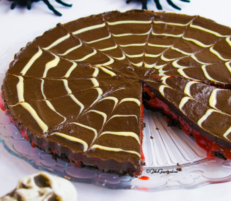 Halloween No Bake Bloody Chocolate Tart