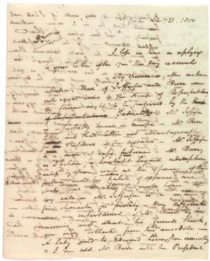 Alexander Hamilton to Harrison Gray Otis, December 23, 1800. (Gilder Lehrman Collection)