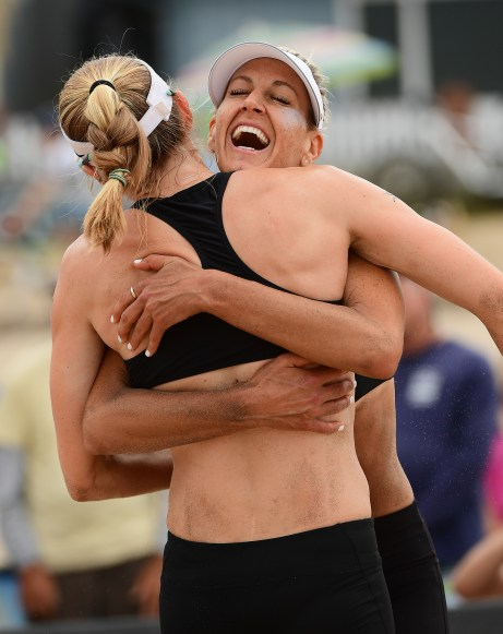 Brittany Hochevar hugs Emily Day after their win at the 2017 AVP Gold Series Manhattan Beach Open Presented by Acer (Photo: Robert Beck)