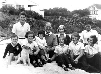 The Kennedy family - Rosemary is the girl on the far right with her head turned
