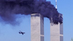 The second plane approaches the World Trade Center.