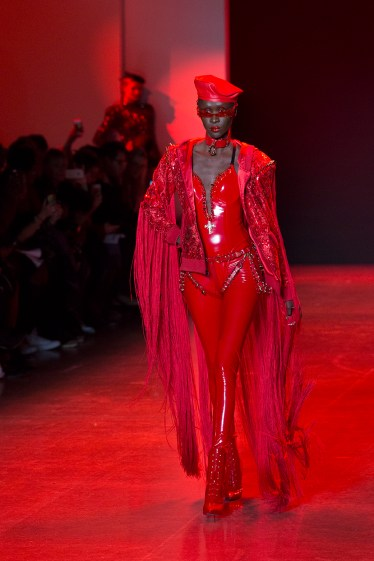 New York, NY - February 13, 2018: Model walks runway for The Blonds fashion show during Autumn/Winter 2018 New York Fashion Week at Spring Studios