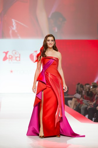 New York, NY - February 8, 2018: Kate Walsh wearing gown by Rubin Singer walks runway for Red Dress 2018 Collection Fashion Show at Hammerstein Ballroom (Photo: Lev Radin/Gildshire)
