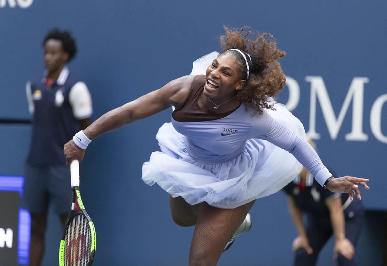 New York, NY - September 2, 2018: Serena Willaims of USA serves during US Open 2018 4th round match against Kaia Kanepi of Estonia at USTA Billie Jean King National Tennis Center (Photo: Lev Radin)