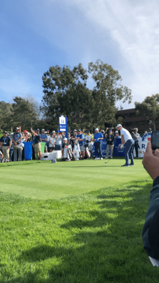 Justin Rose tees off on hole 14 on the South Course at Torrey Pines on Saturday, 26th January (Photo: Gabriela Golumbovici/Gildshire)