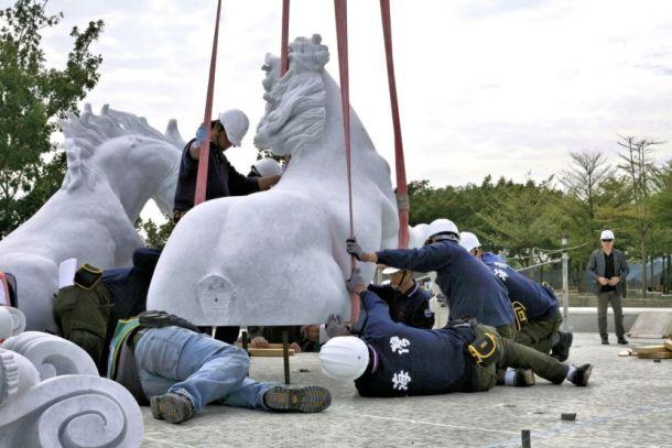 Installation Marble fountain Apollo at Chi Mei Museum 02