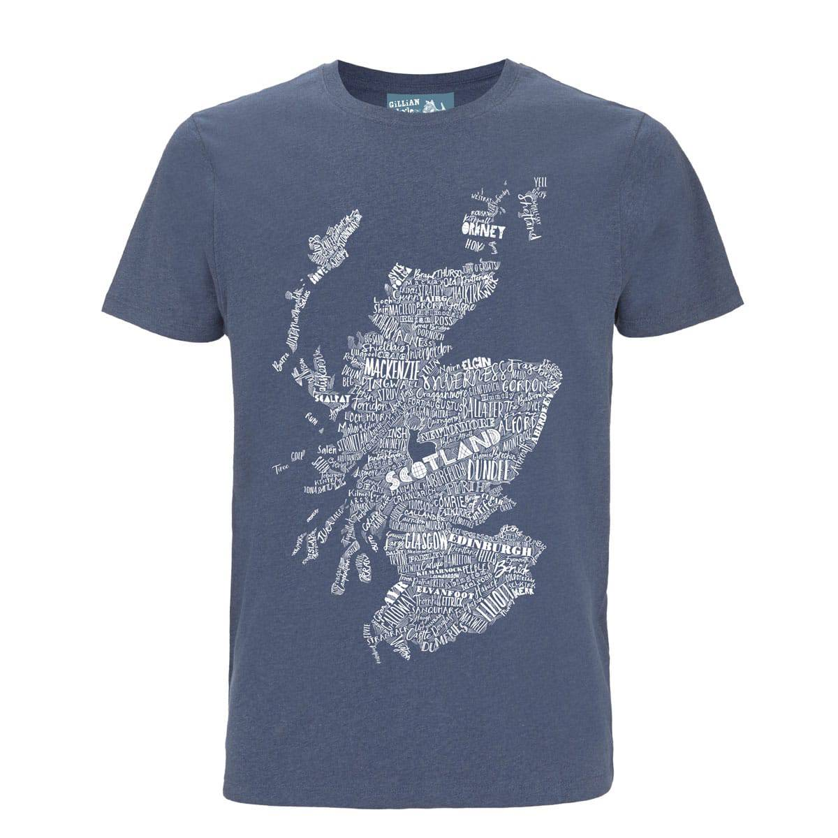 Gillian Kyle Scottish Clothing Scotland Map Mens Tee Shirt Blue