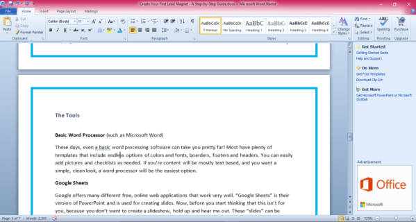 Microsoft Word for Lead Magnets