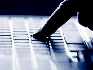 Finger on keyboard