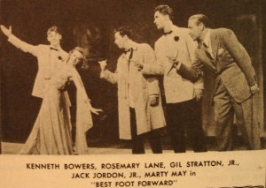 Best Foot Forward Newpaper Photo Clipping with Kenneth Bowers, Rosemary Lane, Gil Stratton Jr., Jack Jordon Jr., Marty May