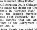 Announcement from the New York Post august 23, 1941. Gil is to appear in the Broadway Play Best Foot Forward by George Abbott
