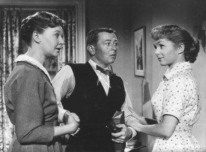 The movie is Bundle of Joy an RKO Radio Pictures release with Debbie Reynolds and Eddie Fisher. Carrie Fisher is still not visible in this scene!