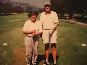 Gil Stratton and friend Bob Gault, former head of Universal Studios Hollywood pause for a pic at the Griffith Park golf couse.