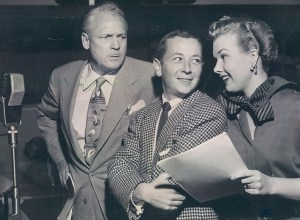 My Little Margie radio publicity shot with Charles Farrell, Gil Stratton Jr as Freddie, and Gale Storm