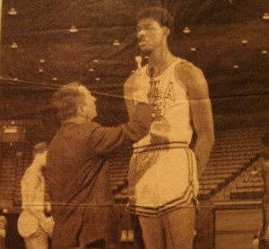 Gil Stratton in a rare picture interviewing UCLA sports legend #33 Ferdinand Lewis (Lew) Alcindor Jr. later to go on to Los Angeles Laker fame as Kareem Abdul-Jabbar.