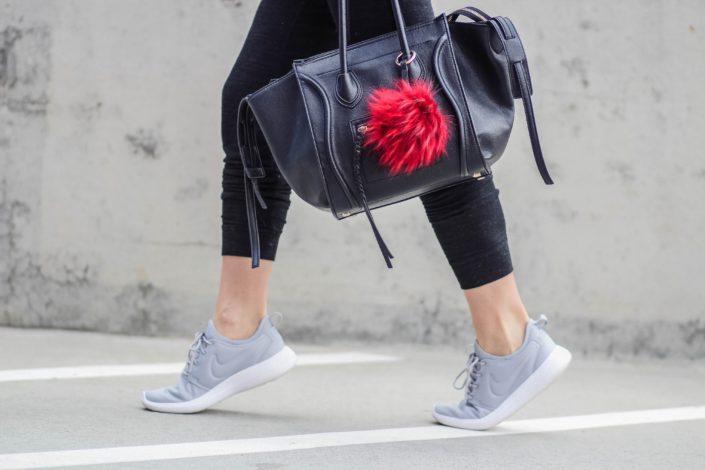nike roshe shoes, bag with pom pom