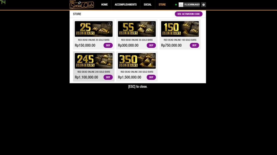 Harga Gold Bar Red Dead Online