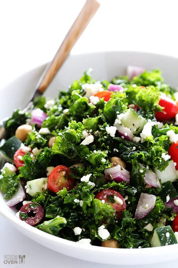 Chopped Kale Greek Salad | gimmesomeoven.com