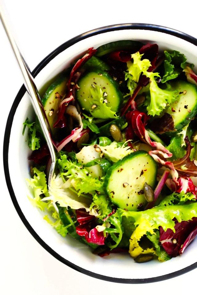 Everyday Side Salad Recipe in Enamelware Bowl