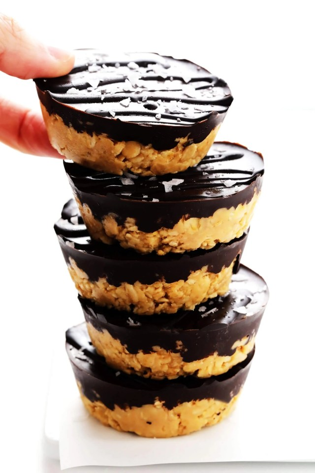 Salted Chocolate Peanut Butter Oat Cups