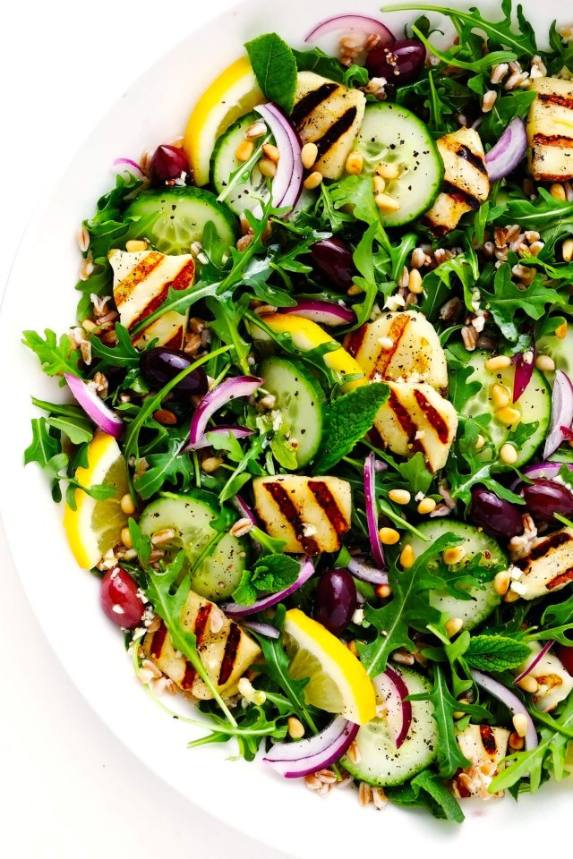 Grilled Halloumi Salad in Bowl
