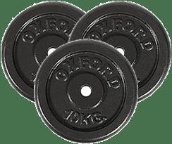 3 discos de 10 kilos