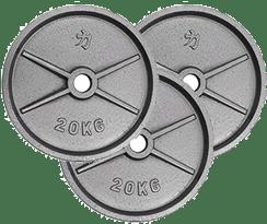 3 discos de 20 kilos