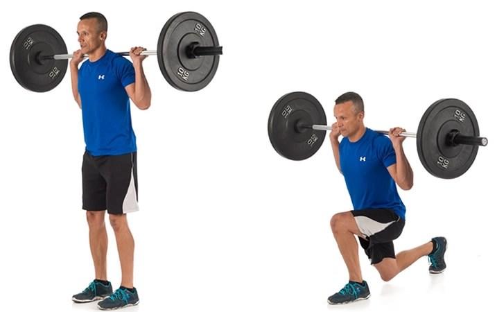 ejercicio zancada con barra