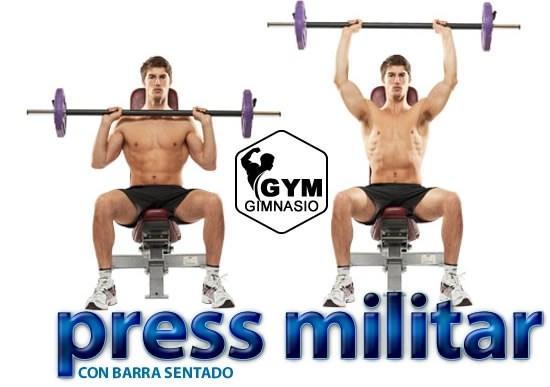 ejercicio gimnasio press militar sentado con barra