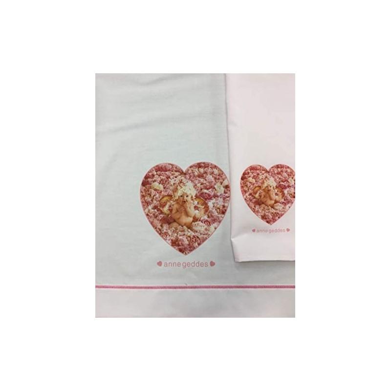 Materiale :100% cotone percalle 57 fili al cm2. Set Lenzuola Culla Carrozzina Anne Geddes Peony Angel