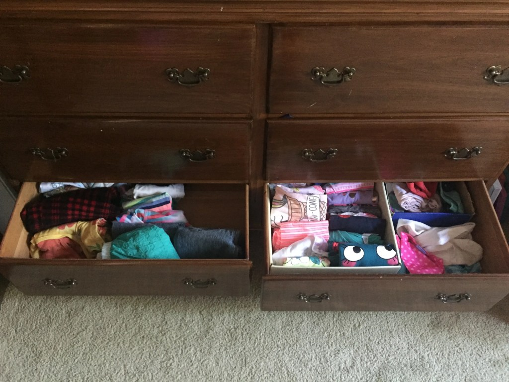 girls dresser after KonMari