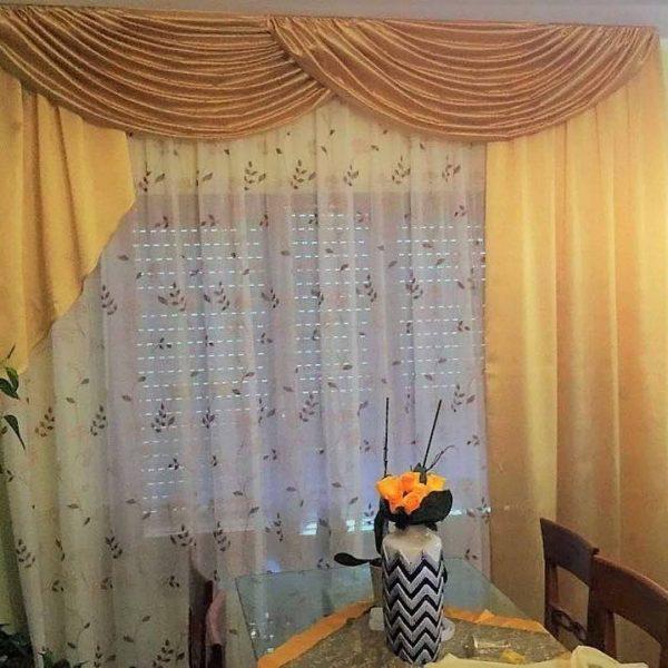 Caromio tende corte mantovana con trama a nido d'ape, tende piccole per finestre della cucina, tenda corta per il bagno per la finestra del bagno, grigio,. Mantovana A Festoni Classica In Tessuto Tafta Gina Tendaggi