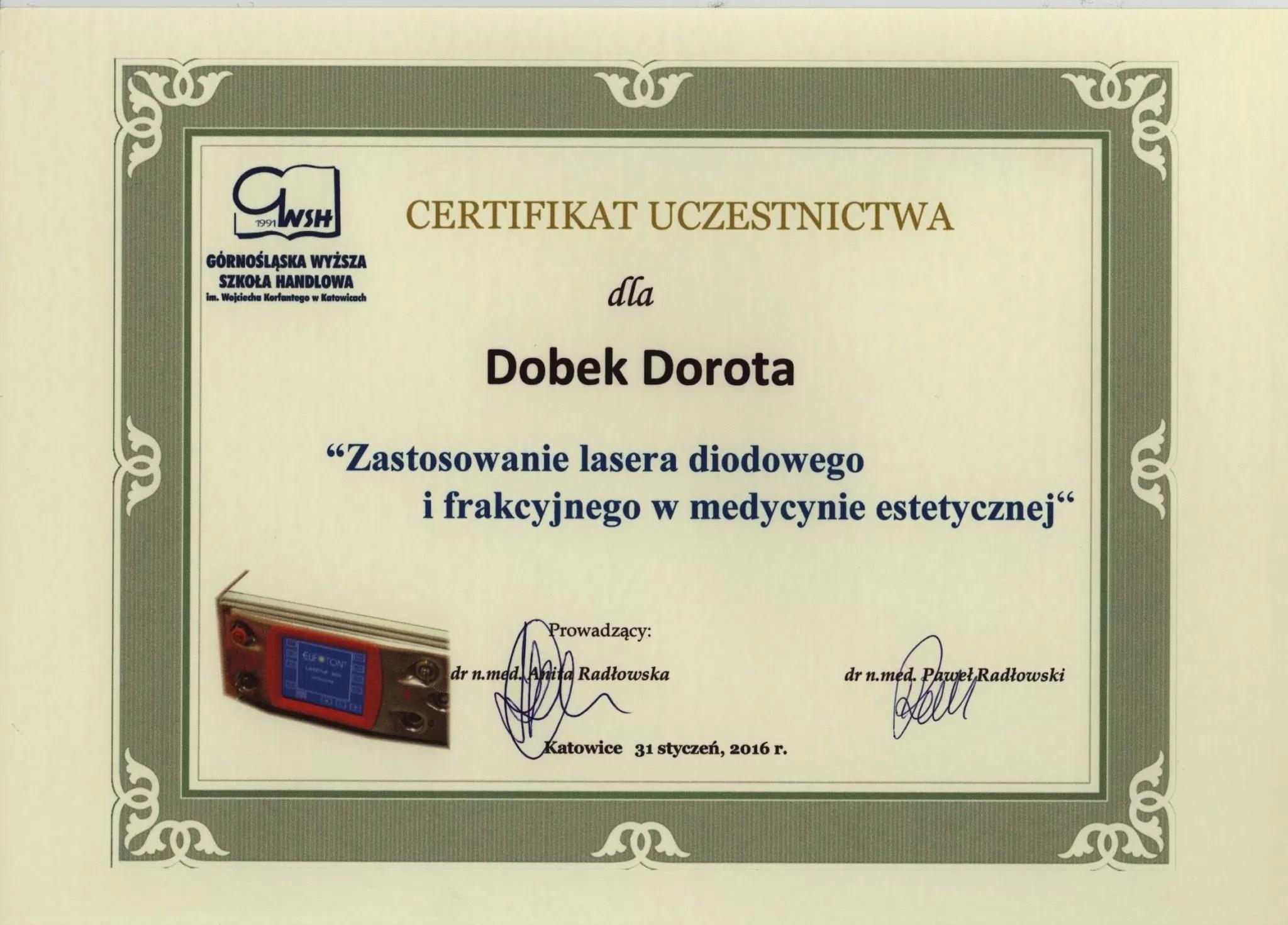 certyfikat - Dorota Dobek