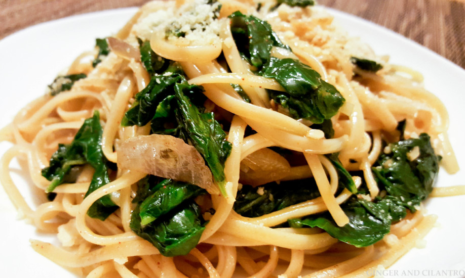 Spinach Linguine in 15 Minutes