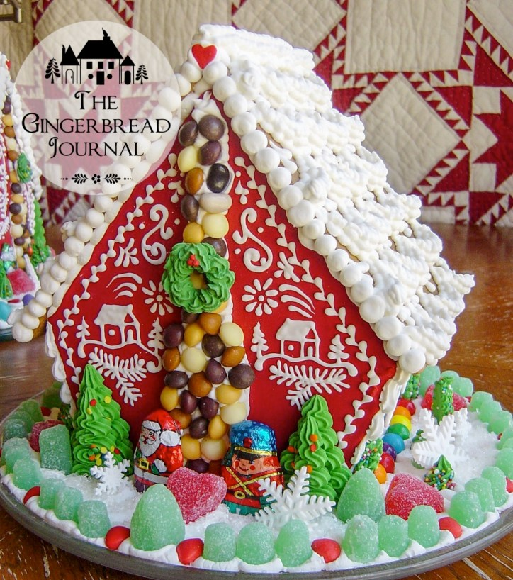 gingerbread house christmas red and white piping