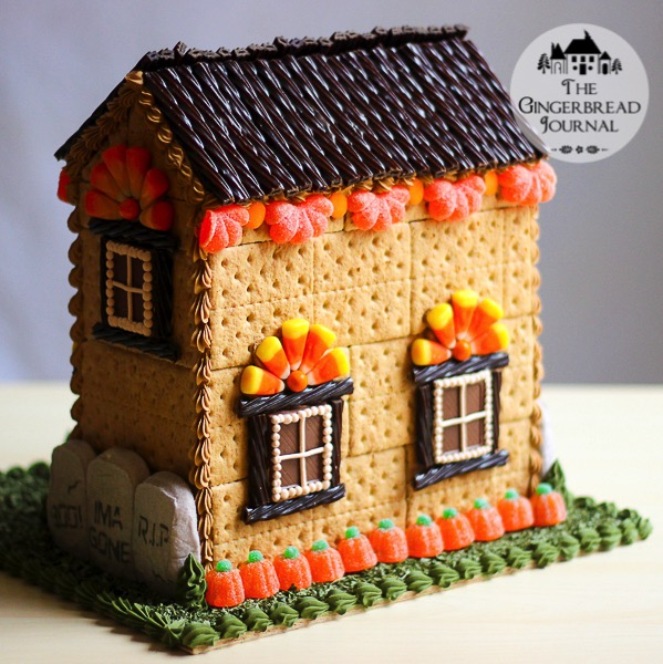 gingerbread house, Halloween gingerbread house, no-bake, tutorial ...