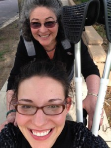 """Wheelchair """"selfie"""" with Laura and her mom"""