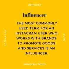 The most commonly used term for an Instagram user who works with brands to promote goods and services is an Influencer.