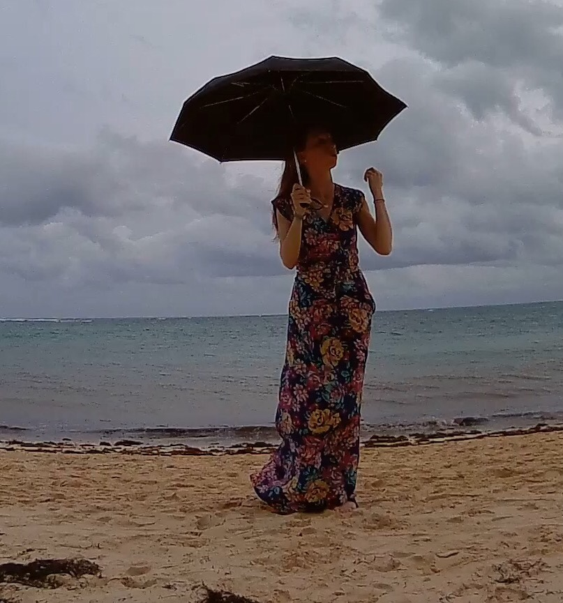 Rain Beach Umbrella Maxi Dress